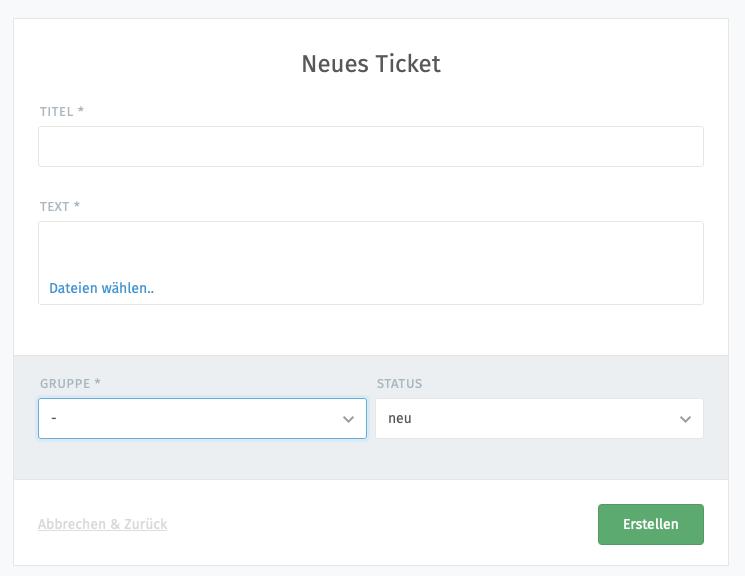 Screenshot vom Eingabeformular fuer ein neues Ticket bei Zammad